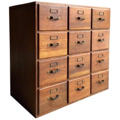 Advance Systems Haberdashery Oak Chest of Drawers Filing Cabinet Loft Style