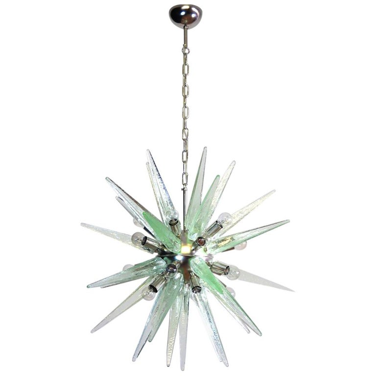 Exceptional Murano Green Glass Sputnik Chandelier