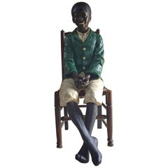 Stunning Life-Size Statue of Boy African American Goldscheider Style Painted
