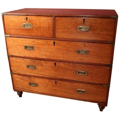 19th Century Colonial Teak Wooden Victorian Campaign Chest of Drawers