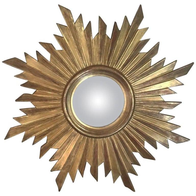 French Gilded Wood Convex Sunburst Mirror