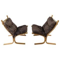 Pair of Norwegian Ingmar Relling for Westnofa Brown Leather Siesta Chairs