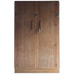 Stunning Art Deco Heals Style Limed Oak Wardrobe Two Door Compactum, circa 1930s
