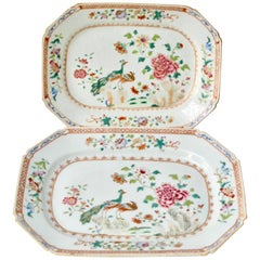 Pair of Chinese Double Peacock Famille Rose Plates. Qianlong Period