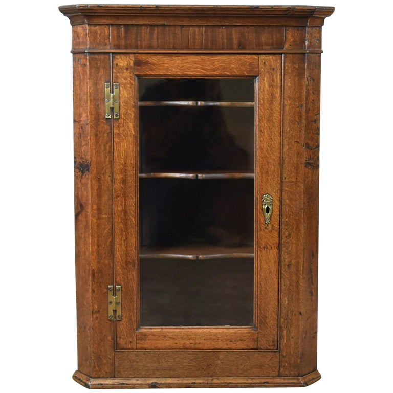 Antique Corner Cabinet, Oak, Mahogany Georgian, Glazed, Hanging, Cupboard  For Sale - Antique Corner Cabinet, Oak, Mahogany Georgian, Glazed, Hanging