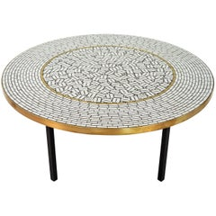 German Coffee Table of Glass Mosaic and Brass by Berthold Muller, 1960s