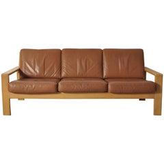 Bonanza Danish Mid-Century Modern Cognac Leather Oak Sofa by Esko Pajamies