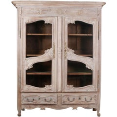 French Oak Display Cabinet / Cupboard