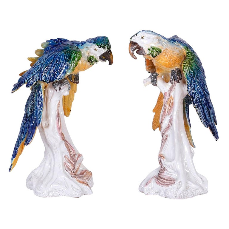 Pair of Italian Glazed Terra Cotta Parrots
