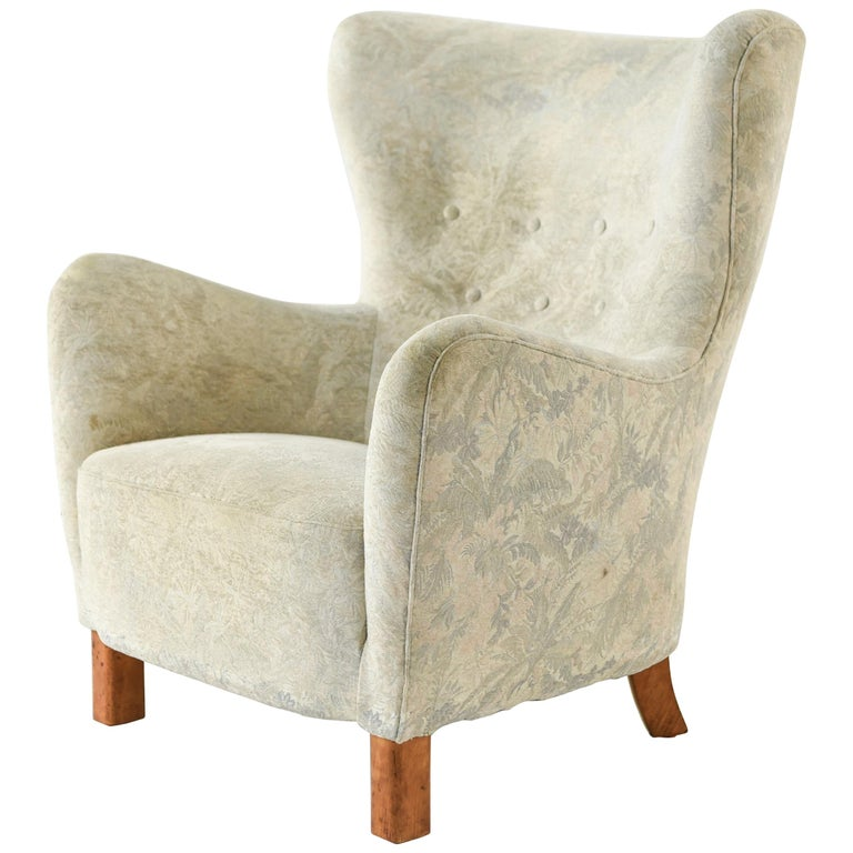 Fritz Hansen Model 1669 Style Wingback Easy Chair