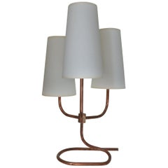Midcentury Table Lamp in Copper and Brass in the Manner of Jean Royère, France
