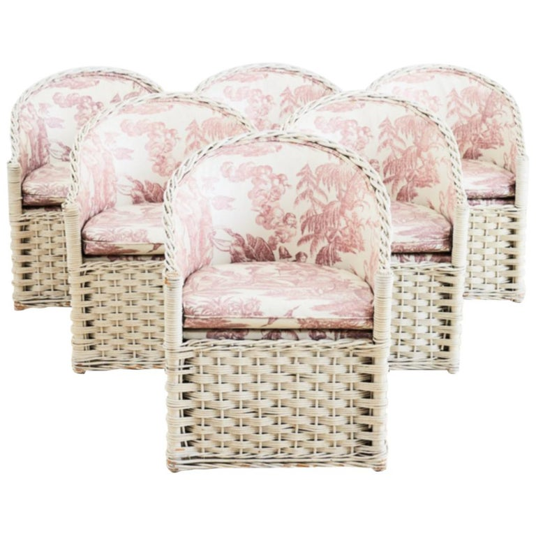 Rattan-and-wicker garden chairs, mid-20th century, offered by Erin Lane Estate