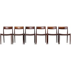 Rosewood and Leather Niels Møller Model #77 Dining Chairs, Set of Six