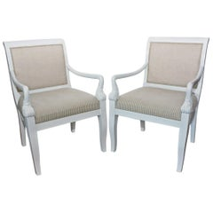 Pair of Late 19th Century Empire Style Armchairs