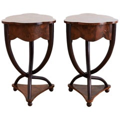 Pair of Biedermeier Bent Leg Burl Wood Tables