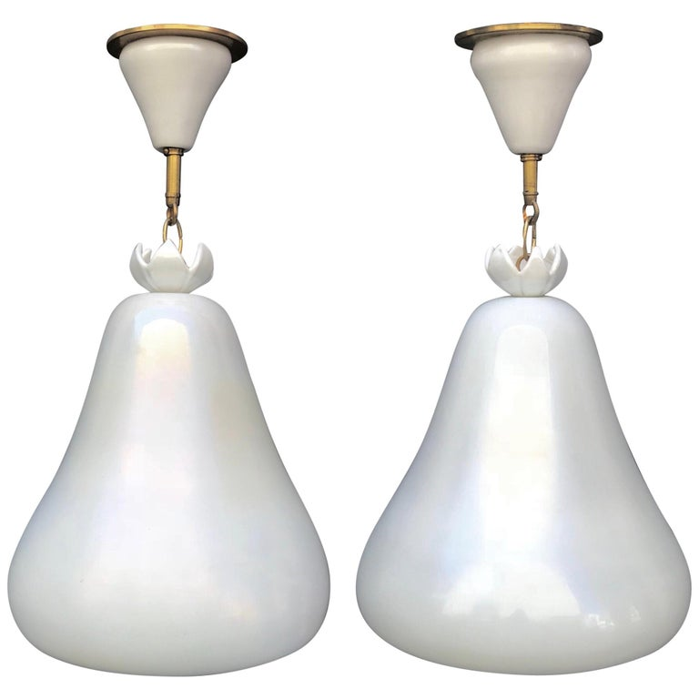 Fabulous Pair of 1950s Barovier & Toso Murano Glass Chandeliers For Sale