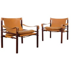 "Rosewood ""Sirocco"" Leather Lounge Chairs by Arne Norell"