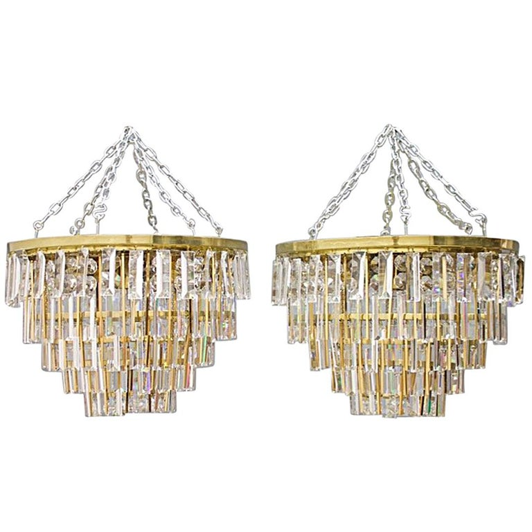 Pair of Crystal Glass Flush Mount Chandelier by Palwa, Germany, 1970s