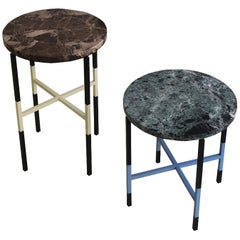 Two Unique Side Tables with Marble Tops and Lacquered Metal Bases