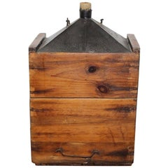 Vintage Early 1900s Oil Can in Wooden Box