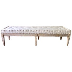 Swedish Gustavian Period Bench with Antique Linen