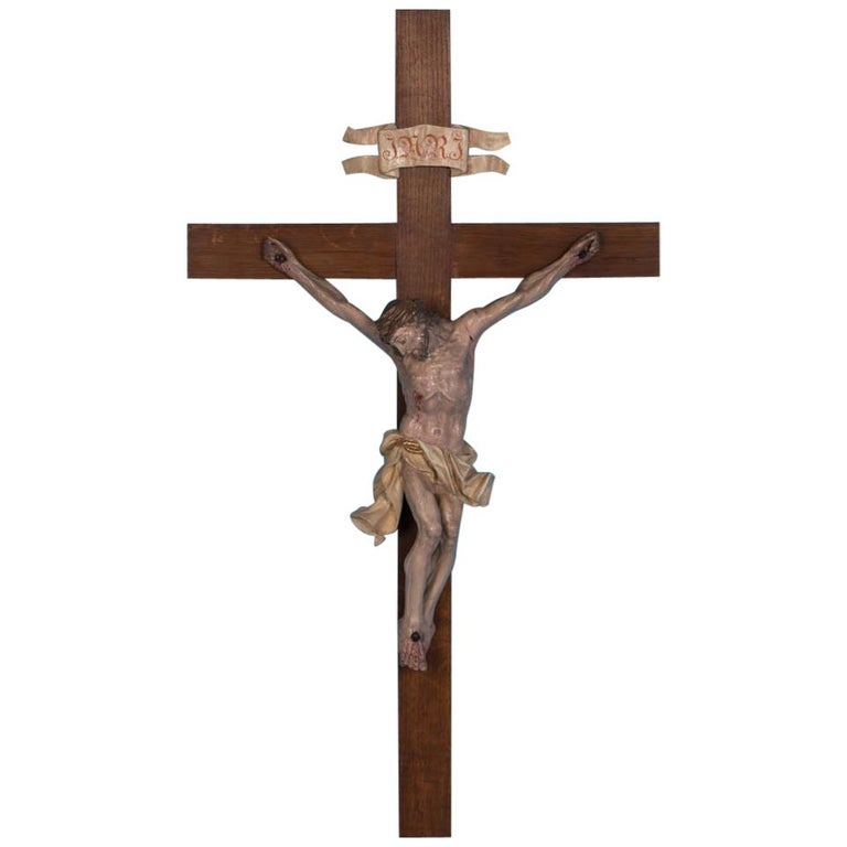 Exceptional Antique Hand-Carved and Painted Crucifix