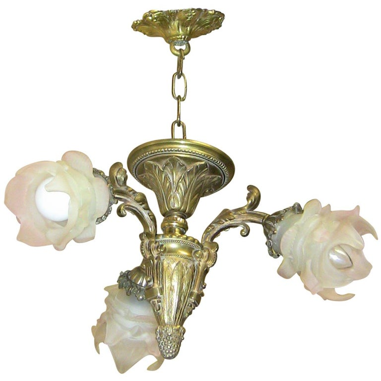 French brass three branch chandelier for sale at 1stdibs 19th century french bedroom three branch chandelier pendant aloadofball Image collections