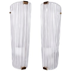 Pair of Tall Fluted White Murano Glass Sconces