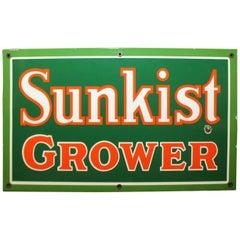 Original Sunkist Grower Enamel Metal Sign From Disney Sunkist Store Display