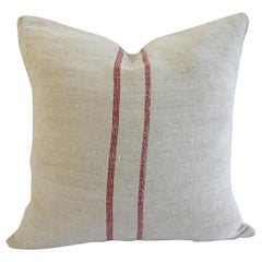 Antique Nubby 19th Century European Linen Grainsack Pillows
