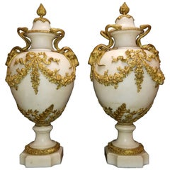 Pair of French Louis XVI Doré Bronze and White Carrara Marble Covered Vases
