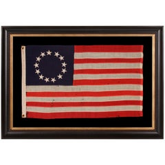 13 Stars in the Betsy Ross Pattern on a Small-Scale Antique American Flag
