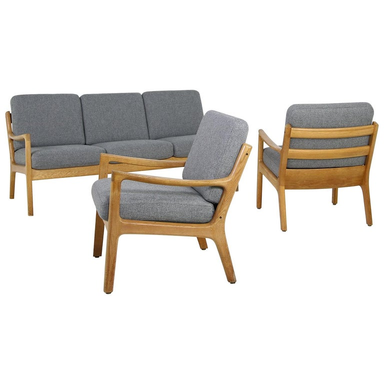 1960s Oak Living Room Set Sofa & Two Lounge Chairs Ole Wanscher, Danish Modern For Sale