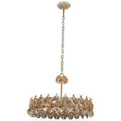 Gold-Plated Bronze and Crystal Chandelier