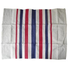 Blue Red White Stripes Set of Cotton Napkins French Vintage