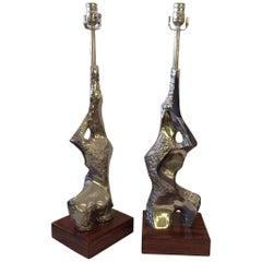Pair of Maurizio Tempestini Brutalist Rock Form Lamps