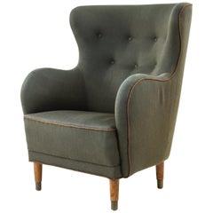 Danish Midcentury Mogens Lassen Style Wingback Chair