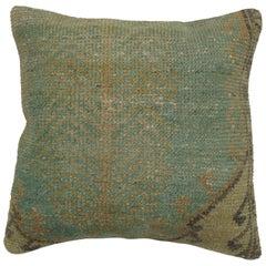 Green Turkish Oushak Rug Pillow