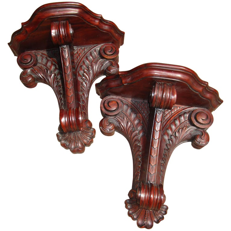 Classical Pair of Carved Mahogany Wall Brackets of Large-Scale