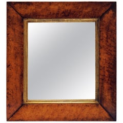 English Rectangular Mirror with Burled Maple Frame (H 24 3/4 x W 22 3/4)