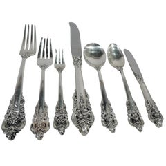 Wallace Grande Baroque Sterling Silver Dinner Set for 12 with 96 Pieces