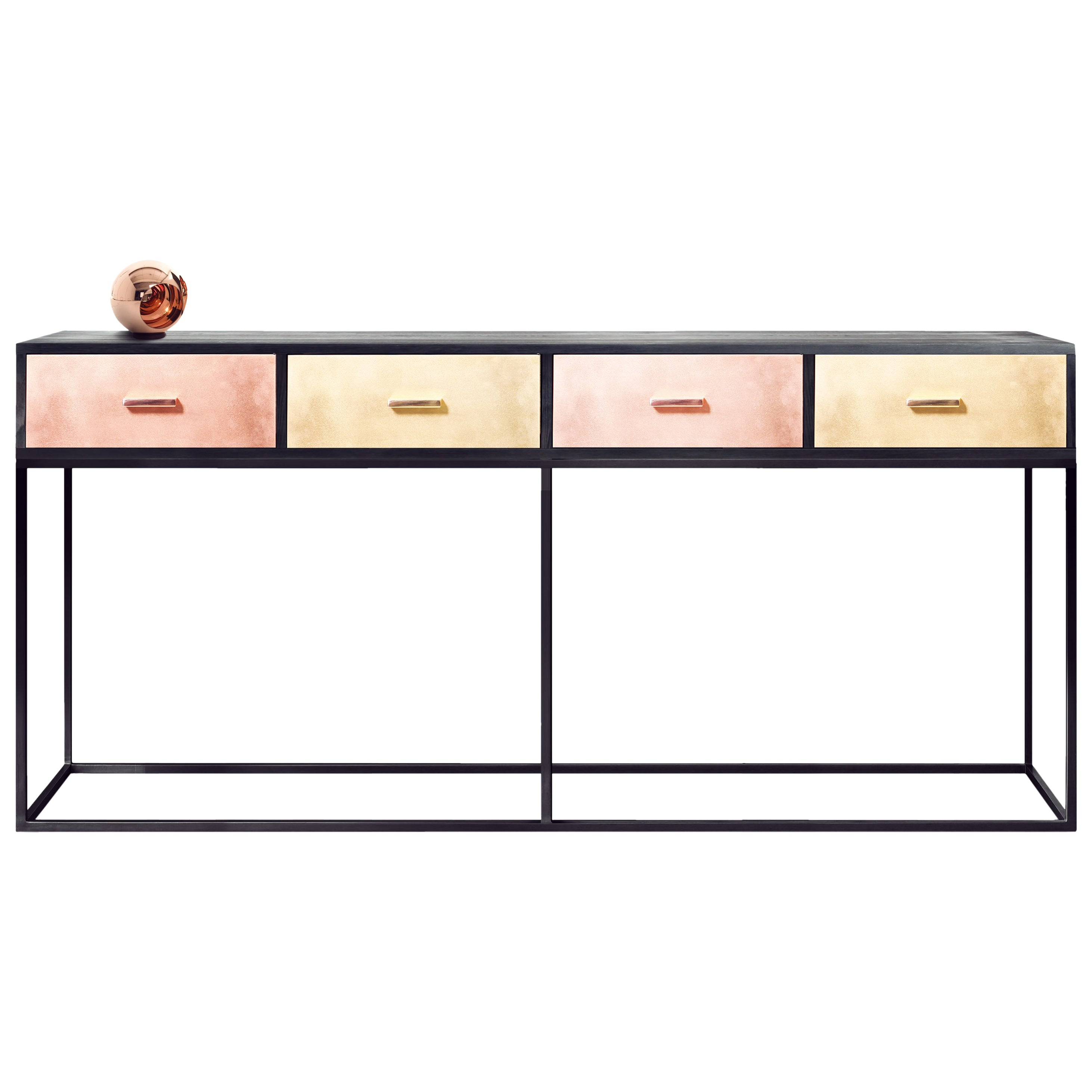 Contemporary Reykjavik Console Table in Brass, Bronze and Copper