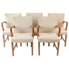 Set of Five Oak Armchairs Attributed to Aksel Bender Madsen