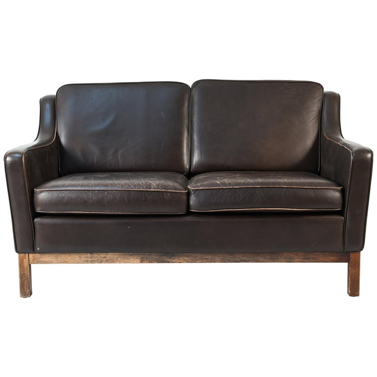 Børge Mogensen Style Danish Midcentury Leather Loveseat