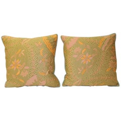 Pair of Orange and Yellow Paisley Asian Batik Printed Decorative Pillows