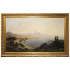 George Loring Brown 'Sunset, Bay of Naples' Oil on Canvas Landscape Painting