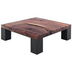 Kong Coffee Table by Uhuru Design, Claro Walnut Slab and Hand-Blackened Steel