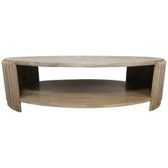 Italian Oval Shaped Deco Style Coffee Table