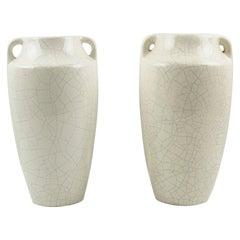 1930s Faiencerie Saint Clement Art Deco Crackle Glaze Ceramic Vase, a Pair