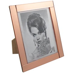 1940s French Copper Pink Mirror Large Picture Photo Frame